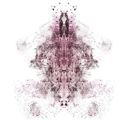 Smudged brown and pink eyeshadows in Rorschach inkblot patterns on a white background.