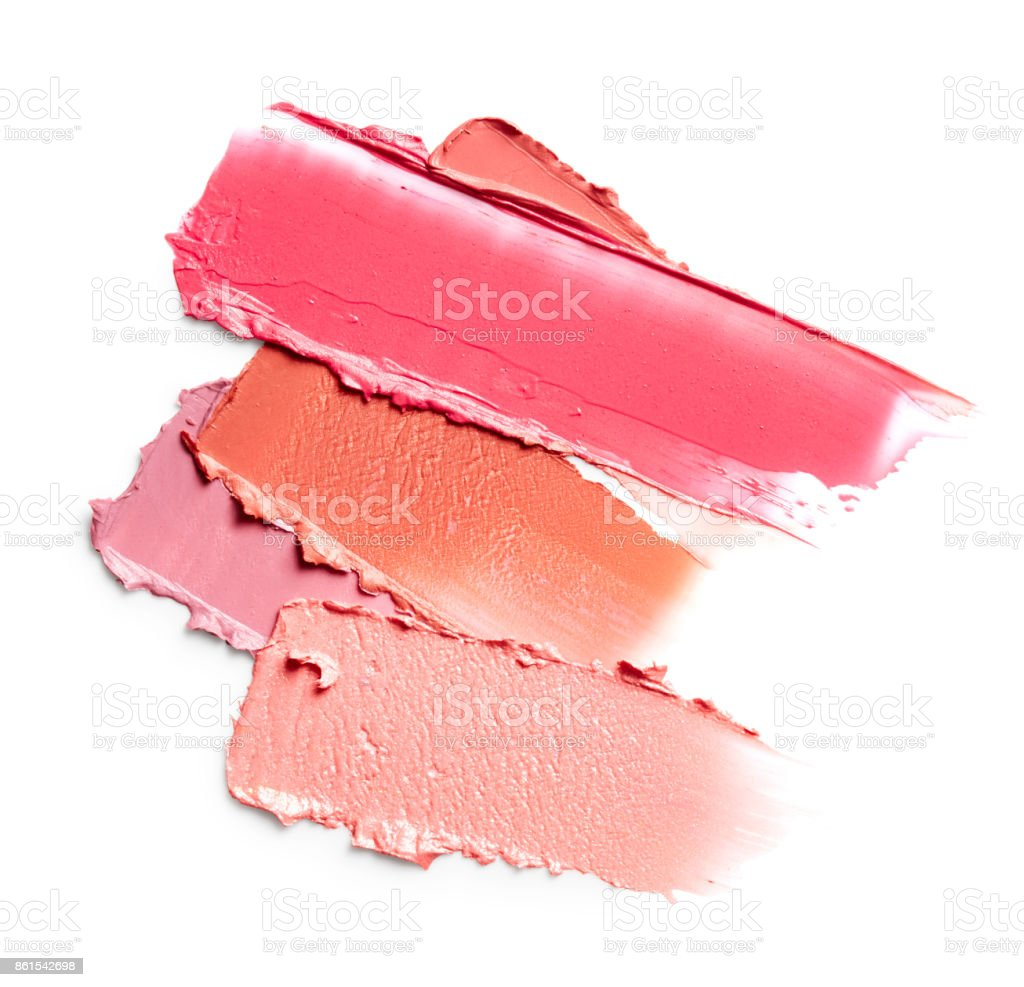 Smudged lipsticks stock photo