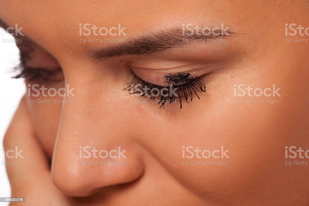 Smudged mascara stock photo