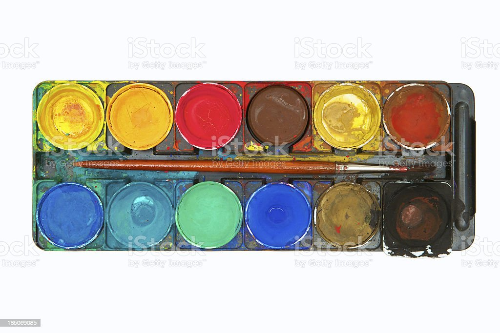 Smudged Watercolor Paints stock photo