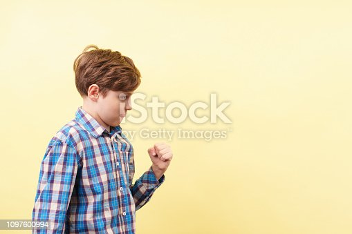 1045527172 istock photo smug confident boy making win gesture 1097600994