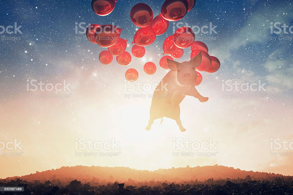Presunçoso voando sobre a paisagem de fantasia porco - foto de acervo