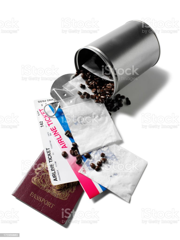 Smuggling Narcotics in Coffee Beans royalty-free stock photo