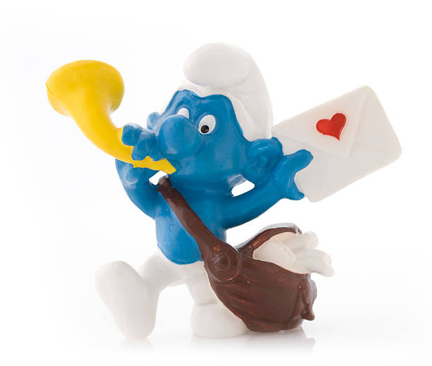 Smurf as postman stock photo