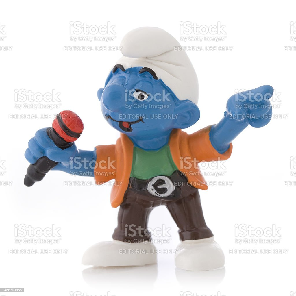Smurf as singer royalty-free stock photo