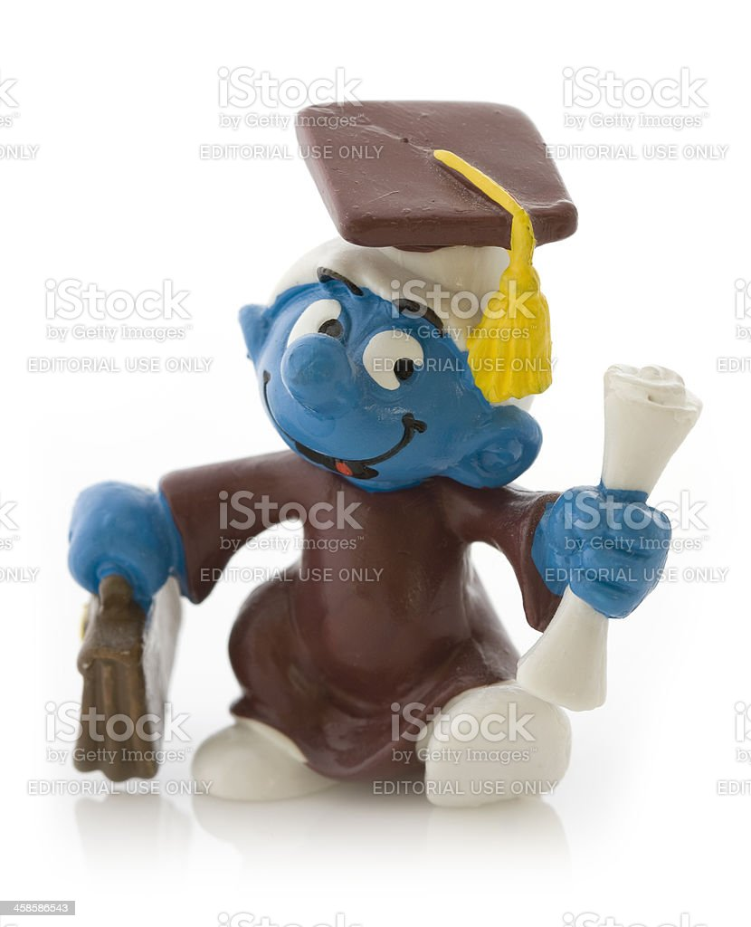 Smurf as student royalty-free stock photo