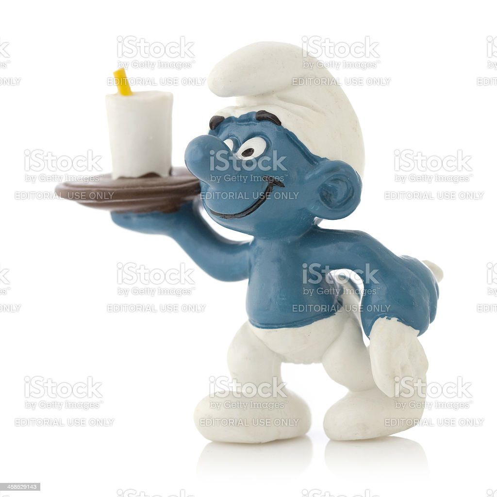 Smurf as waiter royalty-free stock photo