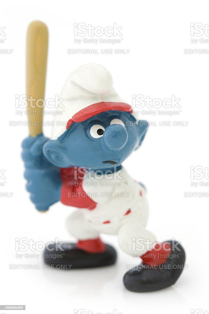 Smurf playing baseball royalty-free stock photo