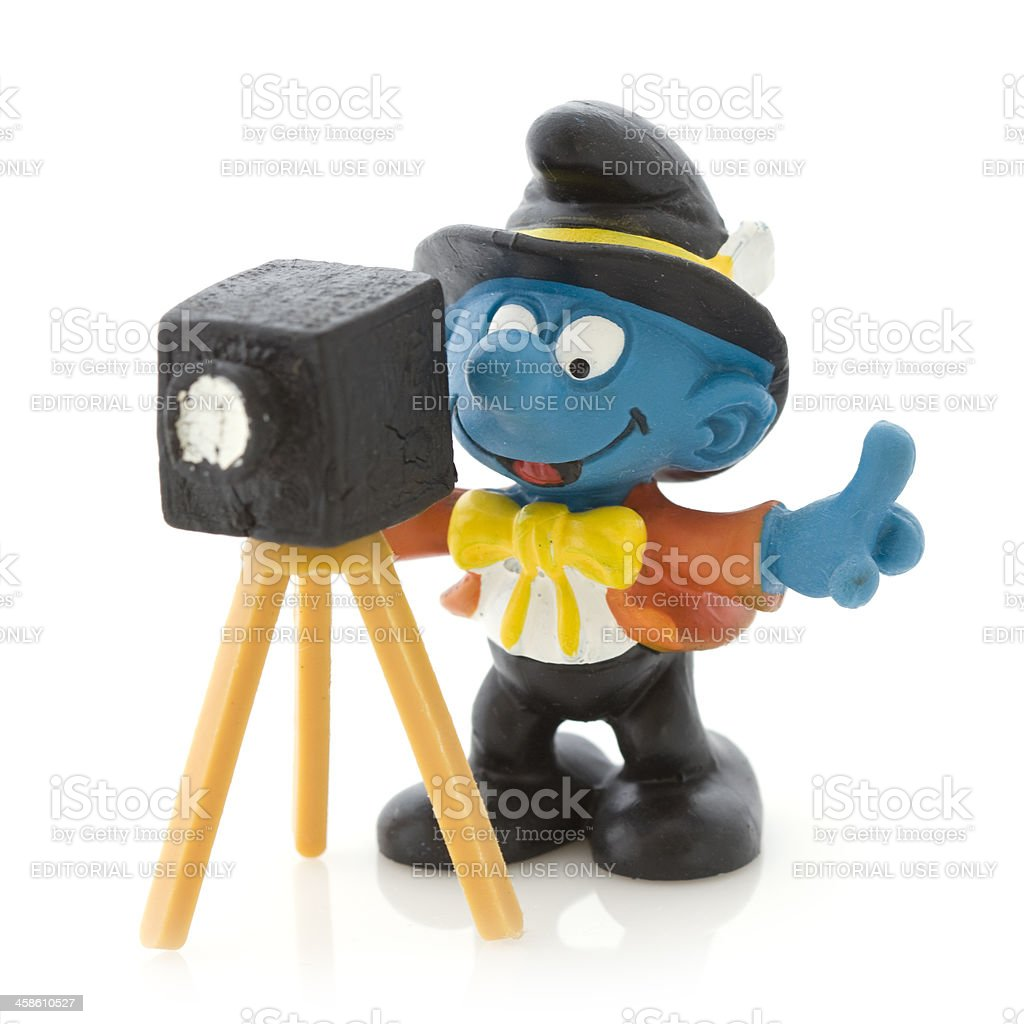 Smurf with camera royalty-free stock photo