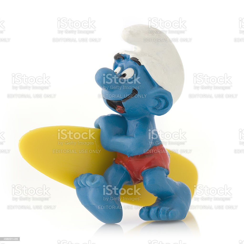 Smurf with surfboard royalty-free stock photo