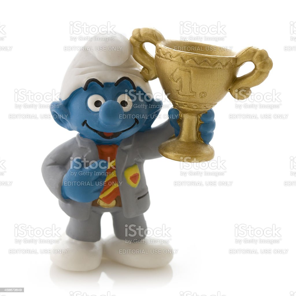 Smurf with trophy royalty-free stock photo