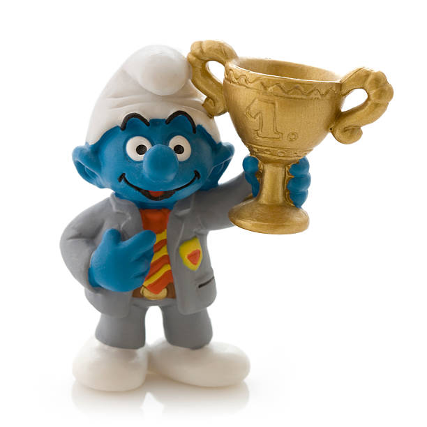 Smurf with trophy stock photo