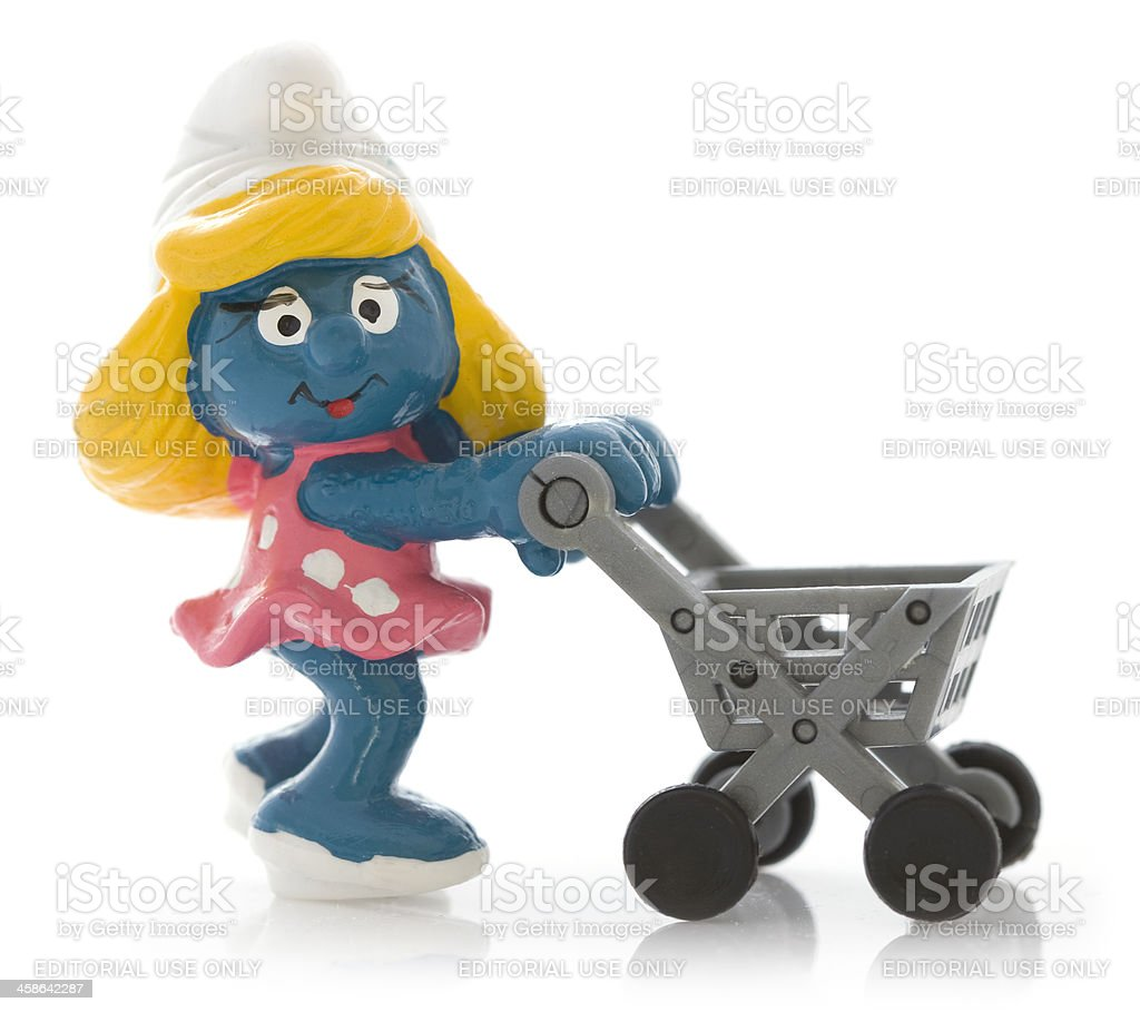 Smurfette with shopping cart stock photo