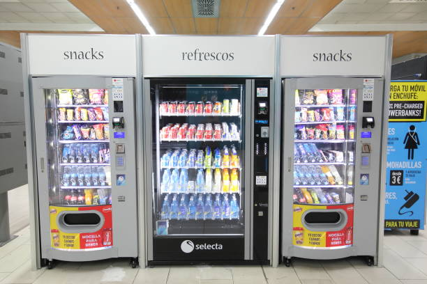 Snack and drink vending machine Madrid Spain stock photo