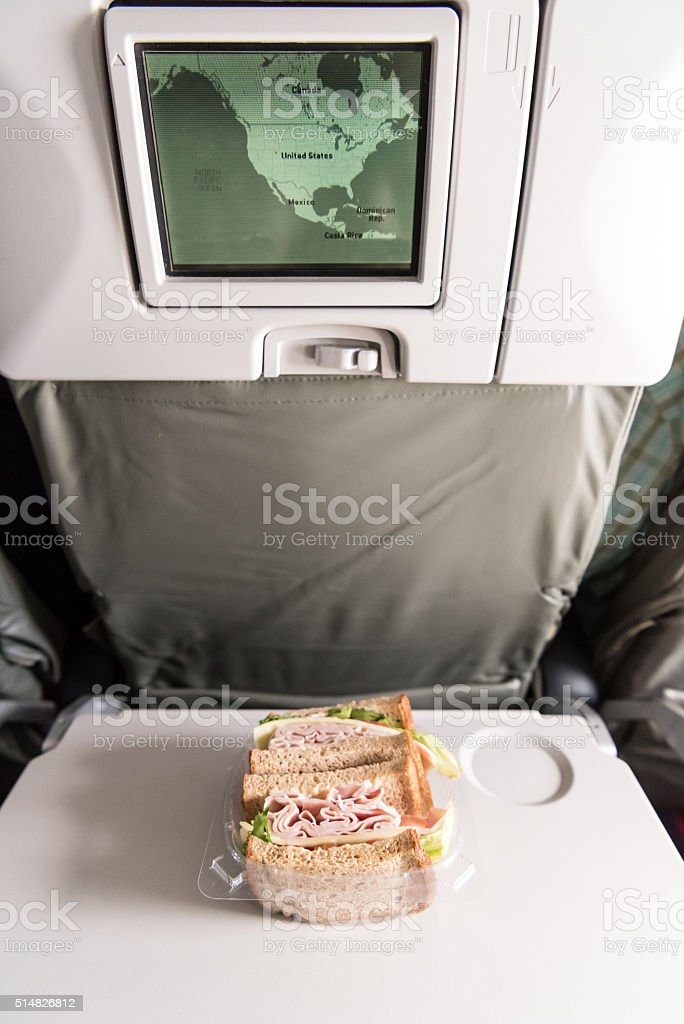 Snack at the airplane stock photo