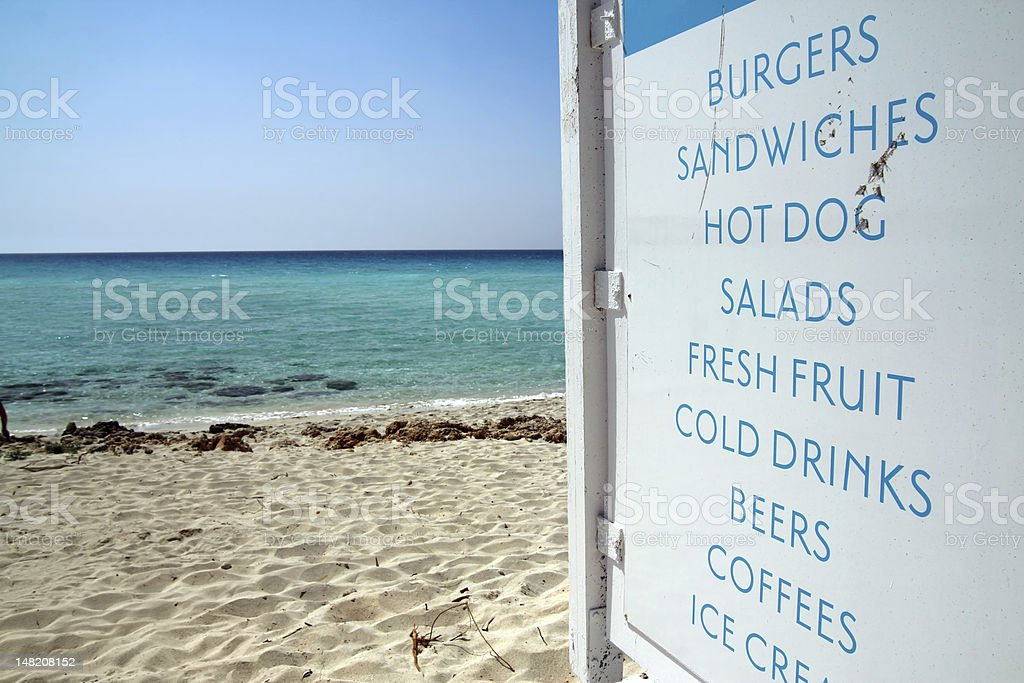 Snack bar sign on the beach royalty-free stock photo