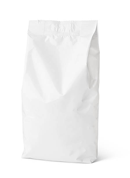 snack blank paper bag package on white - crisp packet stock photos and pictures
