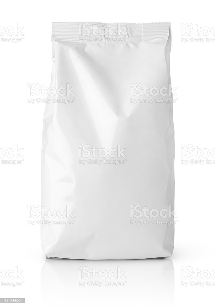 Snack blank paper bag package on white stock photo