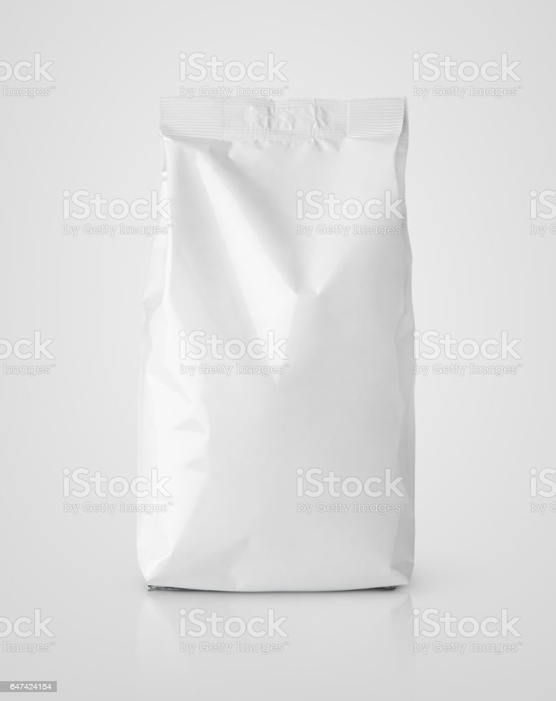 Snack blank white paper bag package on gray stock photo