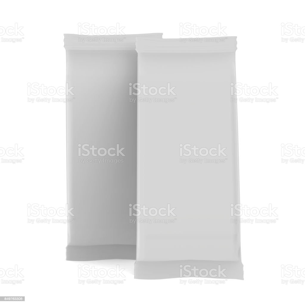 Snack Foil Bag Mock Up Template On Isolated White Background Stock