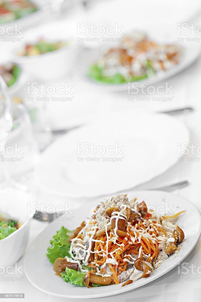 Snack from marinaded mushrooms stock photo