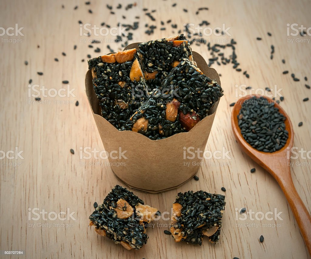 Snack nuts, sesame seeds , paper cup ,Thailand stock photo