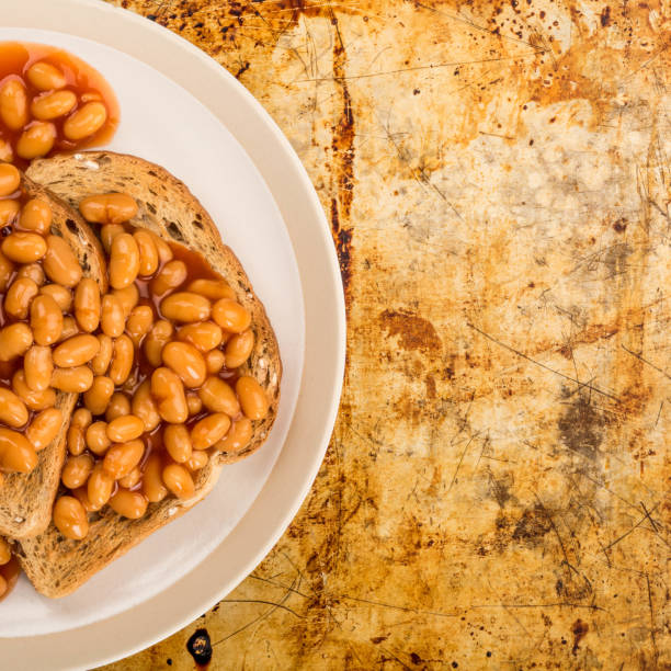 Snack of Baked Beans on Toast stock photo