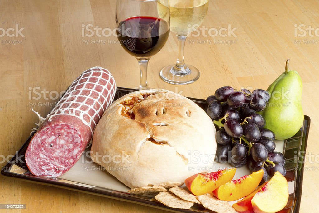 Snack tray and wine royalty-free stock photo