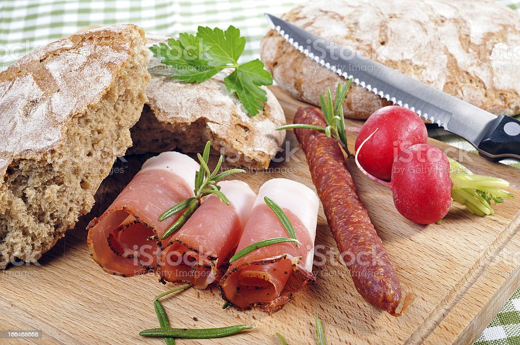 Snack with bacon stock photo