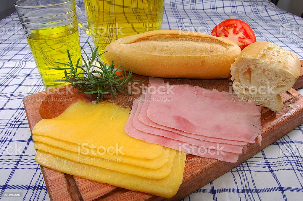 Snack with bread, cheese, ham and juice royalty-free stock photo