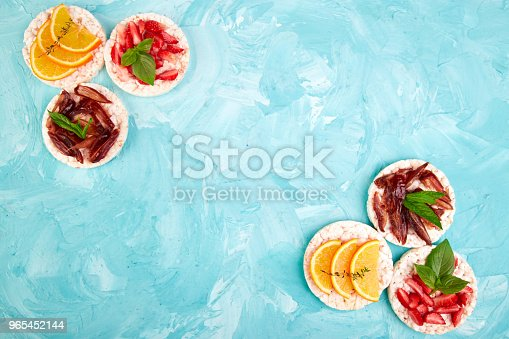 Snack With Rice Crispbread And Fresh Fruits Stock Photo & More Pictures of Above