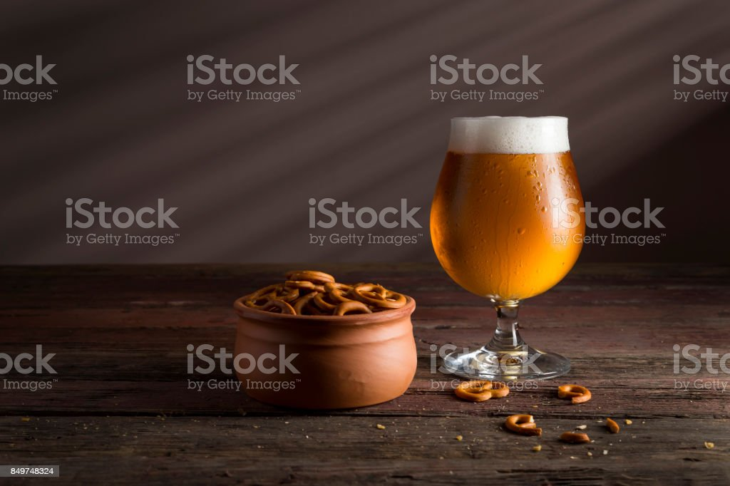 Snacks and pale beer stock photo