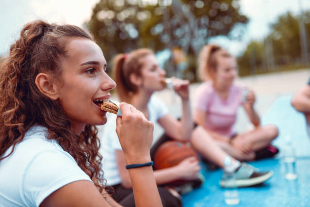 Snacks Come Right After Basketball Training stock photo