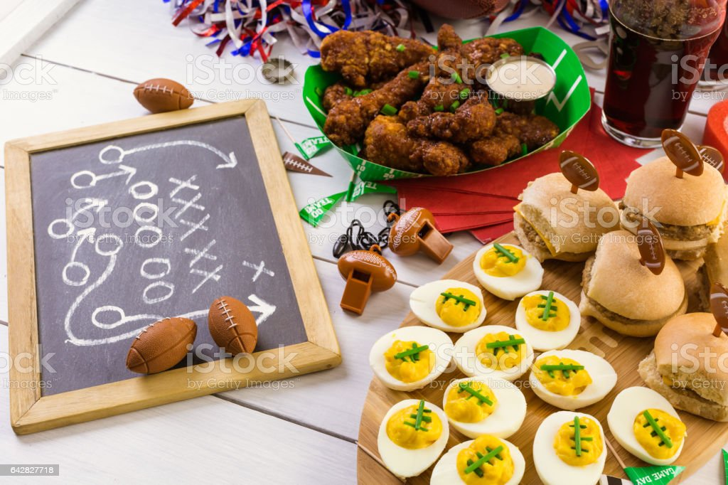 Snacks for watching a football game stock photo