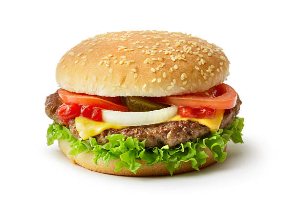 snacks: hamburger isolated on white background - cheeseburger стоковые фото и изображения