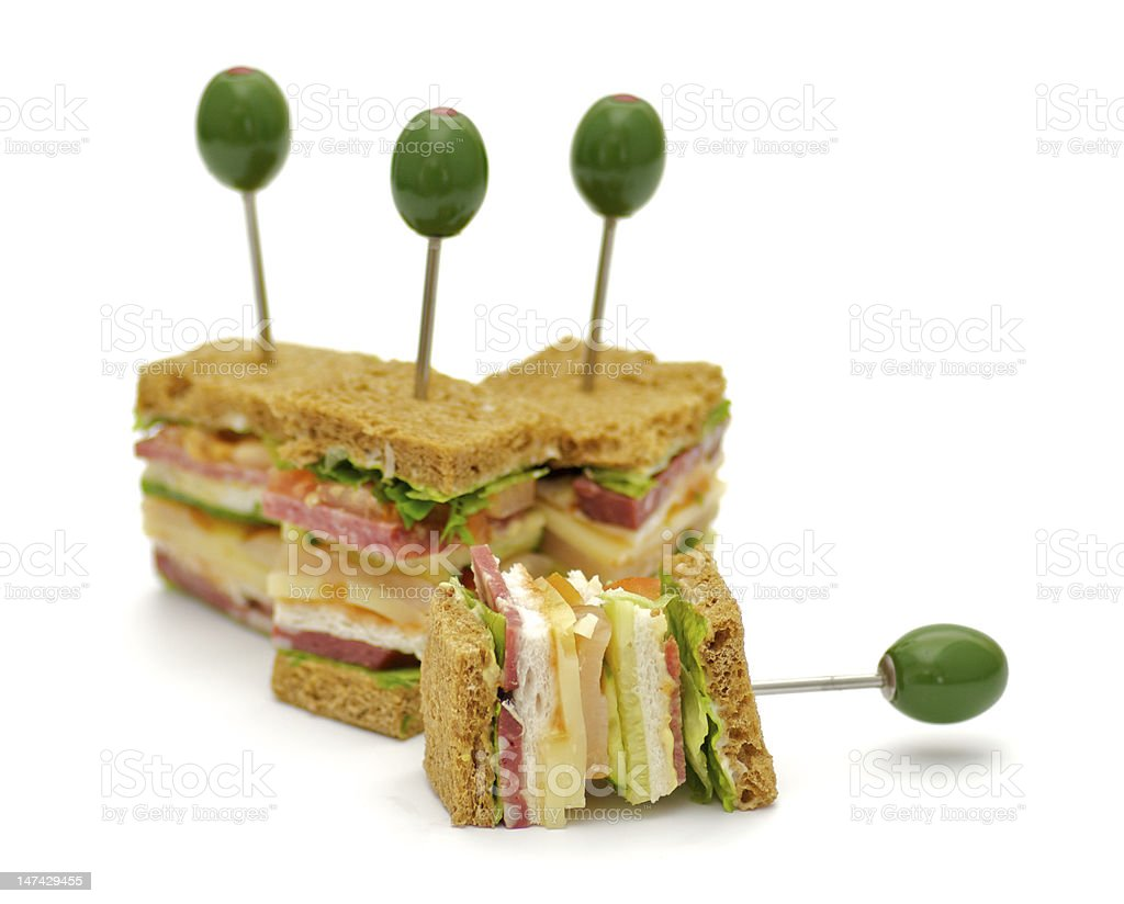 Snacks of Classical BLT Club Sandwich royalty-free stock photo