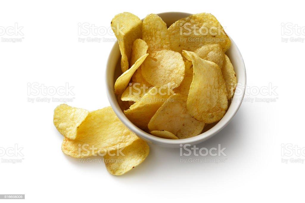 Lanches : Batata Batatas fritas isolado no fundo branco - foto de acervo