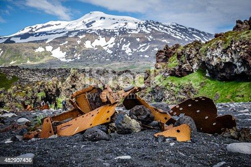 istock Snaefellsjökull Glacier, Shipwreck at Djupalonssandur Beach, Snaefellsnes, Iceland 482907436