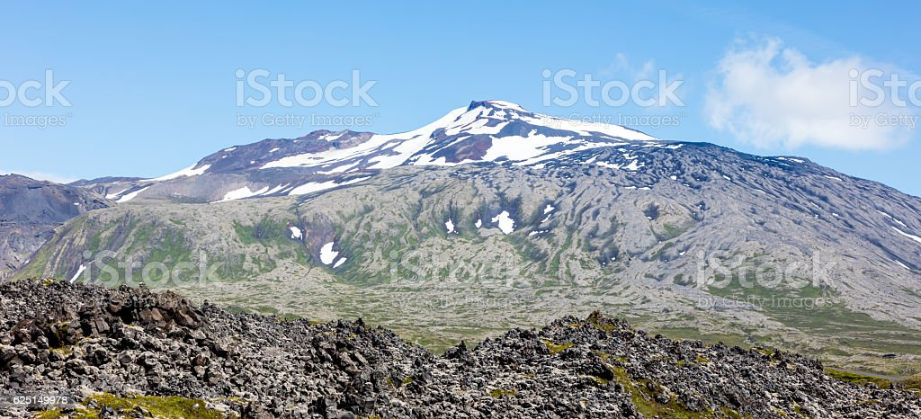 Snaefellsjokull volcano, in the Snaefellsnes peninsula, west Ice stock photo