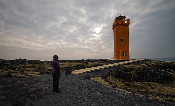 Snaefelsness lighthouse stock photo