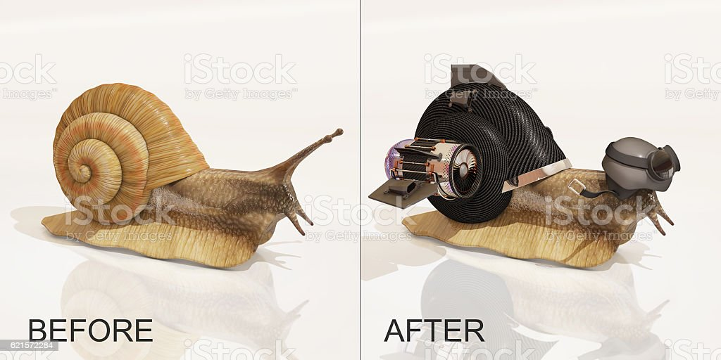 snail, before and after upgrade, 3d rendering stock photo