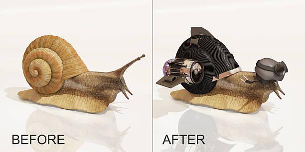 snail, before and after upgrade, 3d rendering - foto de acervo