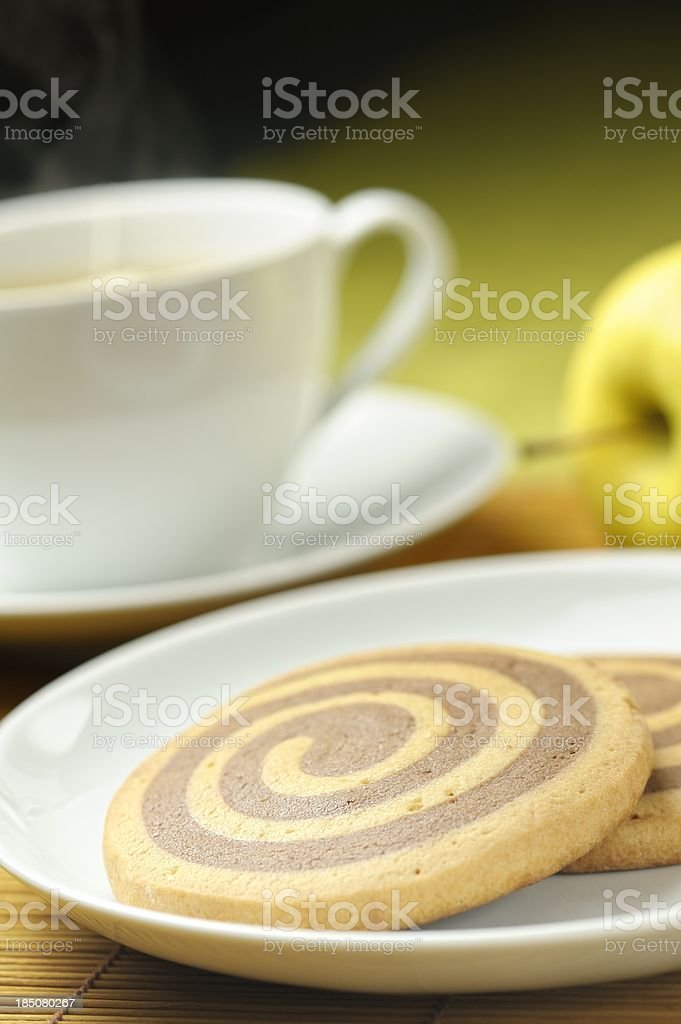 Snail Cookies (Escargots) and Hot Drink royalty-free stock photo