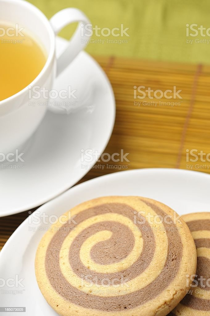 Snail Cookies (Escargots) and Hot Tea royalty-free stock photo