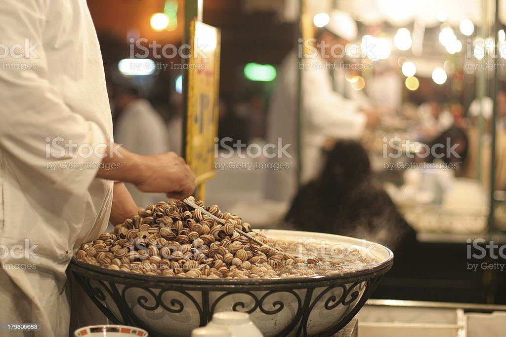 """Snail soup in Djemaa el Fna """"Traditional food stalls in Djemnaa el Fna square, Morocco, MarrakeshMy other photos of"""" Africa Stock Photo"""