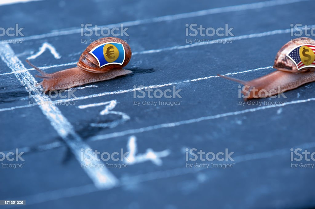 Snails race currency metaphor about Euro against US Dollar stock photo