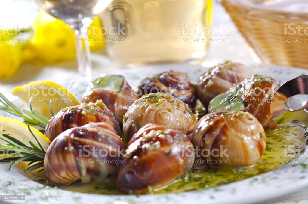 Snails with garlic sauce royalty-free stock photo