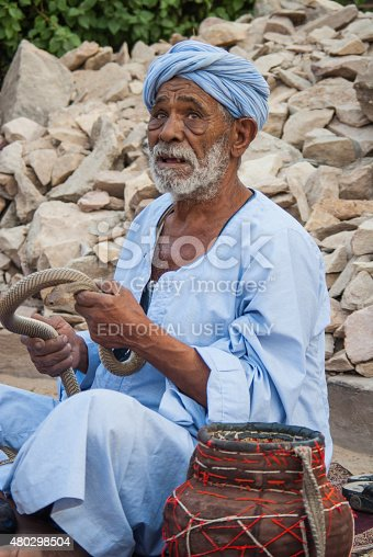 Cairo, Egypt - September 3, 2008: Snake charmer on street, Egypt