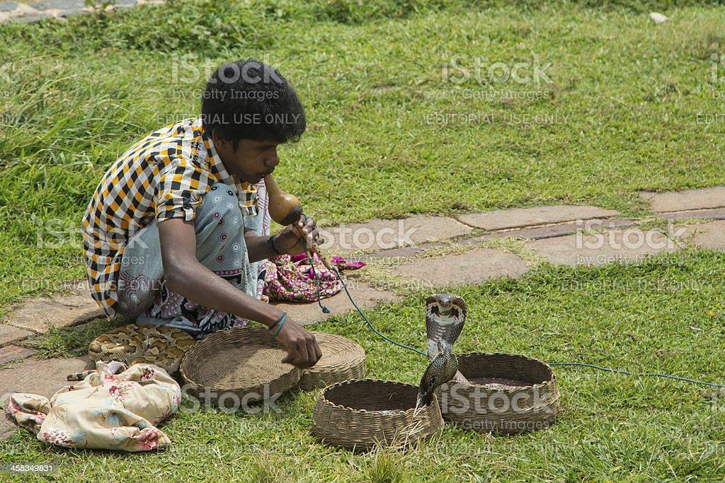 Snake Charmer in Galle, Sri Lanka stock photo
