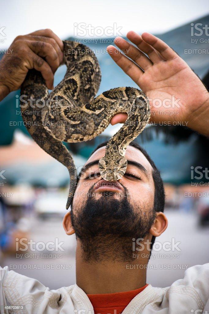 Snake Charmer, Marrakesh, Morocco stock photo